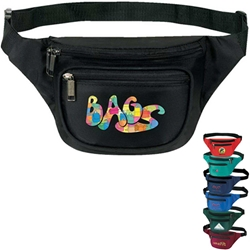 3-Zipper Fanny Pack Fanny, Zipper, Zippered, Pack, Waist, Bag, Promotional, Events, All Purpose, Imprinted, Reusable, Custom, Personalized, Sport, Pack