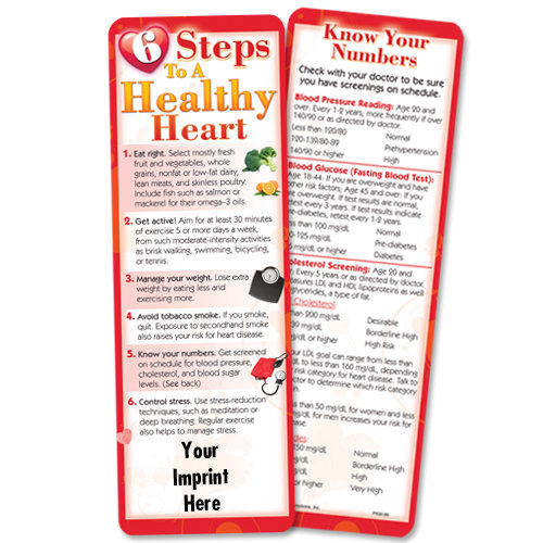 6 Steps To A Healthy Heart Bookmark