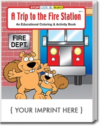 A Trip to the Fire Station Coloring & Activity Book promotional coloring book, fire safety promotional items, fire safety coloring book, fire prevention promotional products, visit to the fire station, fire station open house, fire prevention week, fire department giveaways, fire safety education promos