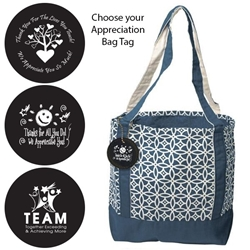 Accent Boat Tote with Appreciation Bag Tag (Navy Sailing Compass)