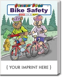 Bike Safety Sticker & Activity Book promotional coloring book, bike safety giveaways, bike safety promotional items, bike safety month promotional items, public safety promotional items, bike safety coloring book, bike safety promotional products, police department giveaways