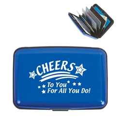 Cheers To You For All You Do! Aluminum Card Case Aluminum Card Case, Cheers to You For All You Do!, Design, Stock, Aluminum, Business, Card, Case, Imprinted, Personalized, Promotional, with name on it, giveaway,