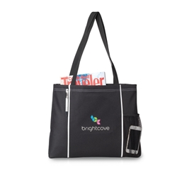 Classic Convention Tote Trade Show Tote, Convention Bag, tote with Water Bottle Holder, Pocket, Basic, Low Price, Promotional, Imprinted, with name on it, logo,
