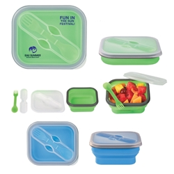 Collapsible Food Container With Dual Utensil Collapsible Food Container With Dual Utensil, Collapsible, Food, Container, With, Dual, Utensil, Imprinted, Personalized, Promotional, with name on it, giveaway,
