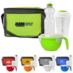 Complete Lunch Cooler, Water Bottle, Salad Shaker, & Noodle Bowl Promo Bundle Gift Set Lunch Bag Gift Set, Lunch Bag Bottle Dish Set, Lunch Bag Promo Bundle, Imprinted, With Name On It, With Logo,