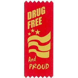 """Drug Free and Proud!"" Self-Adhesive Satin Ribbon Pack (Pack of 100)  Satin Red Ribbons, Gold Stamped Ribbons, Self-Adhesive, Ribbons, red ribbon week, red ribbon week party supplies, red ribbon week decorations, drug prevention, party goods, decorations, banners"