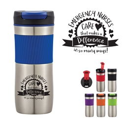 """Emergency Nurses: Your Care Makes A Difference In So Many Ways!"" 17 Oz. Excursion Stainless Steel Tumbler   17 Oz Stainless Steel Tumbler, Stainless Steel Mug, Travel Mug, Imprinted, Personalized, Promotional, with name on it"
