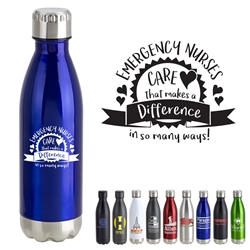 Emergency Nurses: Care That Makes A Difference In So Many Ways! 17oz. Vacuum Insulated Stainless Steel Bottle   Vacuum Sealed Bottles, Vacuum Top Bottle, Imprinted Vacuum Sealed Bottles, Stainless Steel Vacuum Sealed bottle, Care Promotions,
