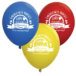 """Emergency Nurses: Care That Makes A Difference In So Many Ways!"" 9"" Standard Latex Balloons (Pack of 60 assorted)  Latex balloons, party goods, decorations, celebrations, round shaped balloons, promotional balloons, custom balloons, imprinted balloons"