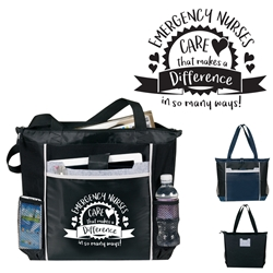 """Emergency Nurses: Your Care Makes A Difference In So Many Ways!"" Contour Tech Tote Bag   Tech Tote Bag, Tech Tote, Modern Tote, Promotional Events, Trade Show Bags, Health Fair, Imprinted, Tote, Reusable, Recognition, Travel , imprinted"