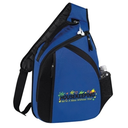 Housekeeping Were A Mess Without You! Design Cross Laptop Mono Strap Backpack All Purpose, housekeeping, design, theme, Cross, Mono, Strap, Laptop, Backpack, Promotional, Imprinted, Polyester, Gift, Earphone Outlet, Organizer, Environmental Services,