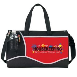 Housekeeping: Were A Mess Without You! Design Cross Sport Duffle Cross, Sport, Housekeeping Design, Housekeeping, Were A Mess Without You!, Deluxe, Duffle, Promotional, Imprinted, Polyester, Travel, Custom, Personalized, Bag