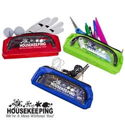 Housekeeping: Were A Mess Without You! MULTI-TASK Carry-All MULTI-TASK Carry-All, Clear, Housekeeping Were A Mess Without You, Stock, Design, Gussetted, cosmetic, bag, Imprinted, Personalized, Promotional, with name on it, giveaway