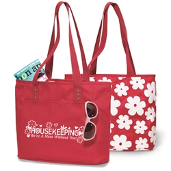 Housekeeping: Were A Mess Without You! Reversible Tote Housekeeping, Reversible Tote, Trade Show Tote, Convention Bag, tote with Water Bottle Holder, Pocket, Basic, Low Price, Promotional, Imprinted, with name on it, logo, custom bag, gift bag, baby bag, diaper bag, fashion bag
