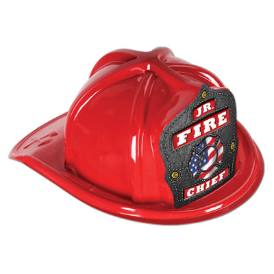 Jr. Fire Chief Deluxe Plastic Fire Hat Fire Hat, Imprinted, Kids, Plastic, Junior, Patriotic, USA Made, Red, Fire Prevention, Week, fire department giveaways, fire station open house, toys