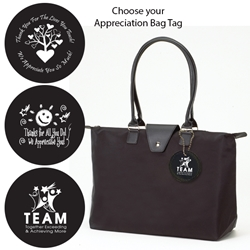 Long Handle Fashion Totes with Appreciation Bag Tags (Black) Black, Long Handle Fold Up Tote, Joann Marie Designs, fashion bag, Appreciation, Bag, Tags, Nurses Theme, Business Tote, Work Tote, Convention Bag, tote with Water Bottle Holder, Pocket, Basic, Low Price, Promotional, Imprinted, with name on it, logo, custom bag, gift bag, baby bag, diaper bag, fashion bag