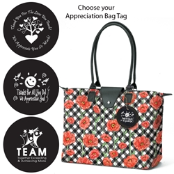 Long Handle Fashion Totes with Appreciation Bag Tags (Poppy Chic)  Poppy Chic, Long Handle Fold Up Tote, Joann Marie Designs, fashion bag, Appreciation, Bag, Tags, Nurses Theme, Business Tote, Work Tote, Convention Bag, tote with Water Bottle Holder, Pocket, Basic, Low Price, Promotional, Imprinted, with name on it, logo, custom bag, gift bag, baby bag, diaper bag, fashion bag