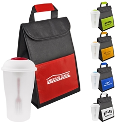 Lunch Cooler with Salad Shaker-To-Go Promo Bundle Gift Set Lunch Bag Gift Set, Lunch Bag Bottle Dish Set, Lunch Bag Promo Bundle, Imprinted, With Name On It, With Logo,