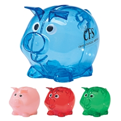 Mini Plastic Piggy Bank Mini Plastic Piggy Bank, Plastic, Piggy, Bank, Translucent, Imprinted, Personalized, Promotional, with name on it, giveaway,