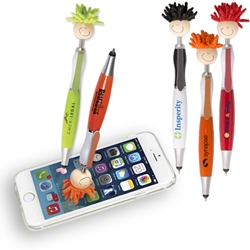 MopTopper™ Stylus Pen Mop, Topper, Hair, Top, Smile, Pen, Stylus, Screen Cleaner, Pendant Pen, Pendant, Pen, Pens, Ballpoint, Aluminum, Imprinted, Personalized, Promotional, with name on it, giveaway, black ink