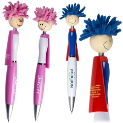 MopTopper™ Superhero Pen  Superhero Pen, Pen with Cape, Hero Pen, Mop, Topper, Hair, Top, Smile, Pen, Stylus, Screen Cleaner, Pendant Pen, Pendant, Pen, Pens, Ballpoint, Aluminum, Imprinted, Personalized, Promotional, with name on it, giveaway, black ink