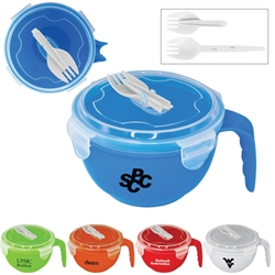 Noodles To Go  Noodle Bowl, Soup Bowl, Travel Soup Bowl, Plastic Soup Bowl, Plastic Noodle Bowl, Noodle Bowl and lid, Noodle Bowl with Spork,