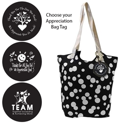 Reversible Hobo Tote with Appreciation Bag Tag (Black Bubble)