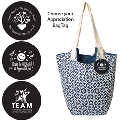 Reversible Hobo Tote with Appreciation Bag Tag (Navy Sailing Compass)