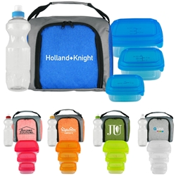 Ridge Lunch Bag, Water Bottle, & Portion Control Containers Promo Bundle Gift Set Lunch Bag Gift Set, Lunch Bag Bottle Dish Set, Lunch Bag Promo Bundle, Imprinted, With Name On It, With Logo,