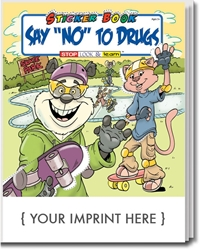 "Say ""NO"" to Drugs Sticker & Activity Book promotional coloring book, red ribbon week giveaways, anti-drug promotional products, drug prevention promotional products, drug free school giveaways"