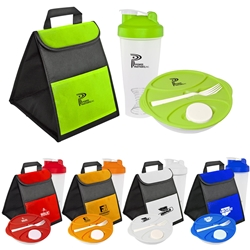 Shake Up Your Lunch Cooler, Salad Container, & Shaker Bottle Promo Bundle Gift Set Lunch Bag Gift Set, Lunch Bag Bottle Dish Set, Lunch Bag Promo Bundle, Imprinted, With Name On It, With Logo,