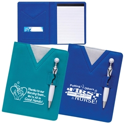 Swanky Scrubs Notebook with Stethoscope Pen scrubs, healthcare, nurses, notebook, pen, stationery set, caring