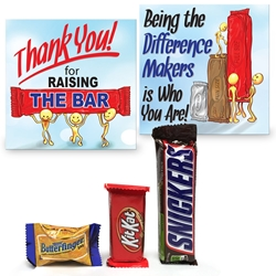 """Thank You For Raising The Bar"" Mini Care Package   employee recognition Treat, employee appreciation treat, chocolate bar treat set, Employee Treat Giveaway, Employee Appreciation Candy Kit"