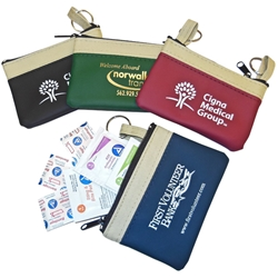 The Safari First Aid Kit The Safari First Aid Kit, Safari, First Aid, Kit, Pouch, Zipper Purse, Purse, Imprinted, Personalized, Promotional, with name on it, giveaway