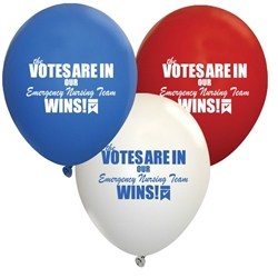 "The Votes Are In...Our Emergency Nursing Team Wins! Red, White & Blue 9"" Standard Latex Balloons (Pack of 60) Emergency Nurses Theme Balloons, Latex balloons, party goods, decorations, celebrations, round shaped balloons, promotional balloons, custom balloons, imprinted balloons"