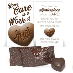 """Your Care Is A Work of Heart"" Godiva Chocolate Mini Care Package Nursing, Nurses, Appreciation, treat, Heart Chocolates, NAs, CNAs, Caring Team, Caring, treat, chocolate bar treat set, Employee Treat Giveaway, Employee Appreciation Candy Kit"