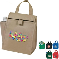 eGREEN Lunch Bag with Bottle Pocket Cooler, All Purpose, Promotional, Bottle Pocket, Imprinted, Thermal, Tote, eGREEN, Eco-Friendly, Beverage, 5-Pack, Gift, Polypropylene, Thermal, Non Woven, Insulated, Reusable
