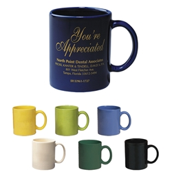11 Oz. Colored Stoneware Mug With C-Handle 11 Oz. Colored Stoneware Mug With C-Handle, 11 oz., Colored, Stoneware, Mug, with, C-Handle, Ceramic, Coffee, Cafe,Imprinted, Personalized, Promotional, with name on it, Gift Idea, Giveaway,