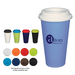 11 Oz. Double Wall Ceramic Mug With Silicone Lid 11 Oz. Double Wall Ceramic Mug With Silicone Lid, 11 oz., Double, Wall, Ceramic, Coffee, Mug, with, Lid, Silicone, Desk, Travel,Imprinted, Personalized, Promotional, with name on it, Gift Idea, Giveaway,