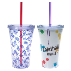 16 Oz. Double Wall Acrylic Tumbler With Insert 16 Oz. Double Wall Acrylic Tumbler With Insert, Double, Wall, 16 oz, Acrylic, Tumbler, Imprinted, Personalized, Promotional, with name on it, Recognition, Straw, Travel, Full Color, 4 Color Process, Insert,
