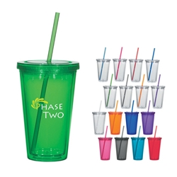 16 Oz. Double Wall Acrylic Tumbler With Straw 16 Oz. Double Wall Acrylic Tumbler With Straw, Double Wall, Acrylic, with, straw, Cup, Tumbler, Imprinted, Personalized, Promotional, with name on it, Gift Idea, Giveaway,