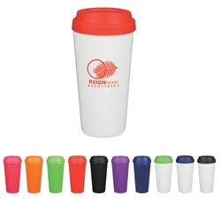 16 Oz. Double Wall Plastic Tumbler 16 Oz. Double Wall Plastic Tumbler, Double, Wall, Plastic, Tumbler, Coffee, Shaped, Container, Lid, Imprinted, Personalized, Promotional, with name on it, Gift Idea, Giveaway,