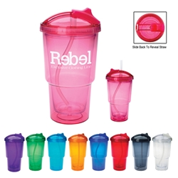 16 Oz. Double Wall Travel Tumbler With Straw 16 Oz. Double Wall Travel Tumbler With Straw, Travel, Tumbler, with, Straw, Double Wall, Cup, Lid, Imprinted, Personalized, Promotional, with name on it, Gift Idea, Giveaway,