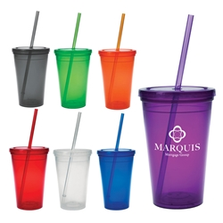 16 Oz. Economy Double Wall Tumbler 16 Oz. Economy Double Wall Tumbler, Economy, Double Wall, Tumbler, Translucent, Clear, Straw, Lid, Imprinted, Personalized, Promotional, with name on it, Gift Idea, Giveaway,