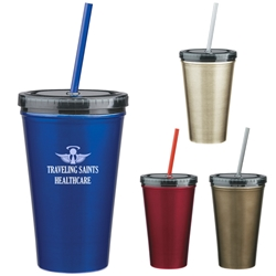 16 Oz. Stainless Steel Double Wall Tumbler With Straw 16 Oz. Stainless Steel Double Wall Tumbler With Straw, Stainless Steel, Double, Wall, Tumbler, Travel, Color, with, Imprinted, Personalized, Promotional, with name on it, Gift Idea,