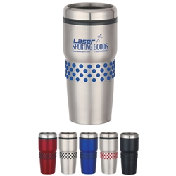 16 Oz. Stainless Steel Tumbler With Dotted Rubber Grip 16 Oz. Stainless Steel Tumbler With Dotted Rubber Grip, Stainless, Steel, Tumbler, Dotted, Rubber, Grip, Travel, Mug, Imprinted, Personalized, Promotional, with name on it, Gift Idea, Giveaway,