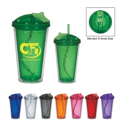 17 Oz. Diamond Double Wall Tumbler With Straw 17 Oz. Diamond Double Wall Tumbler With Straw, Diamond, Double, Wall, Tumbler, with, Straw, Imprinted, Personalized, Promotional, with name on it, Gift Idea, Giveaway,