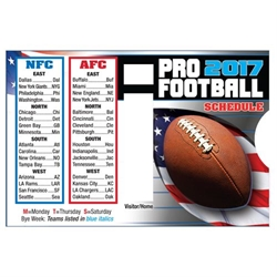Promotional 2017 Pro Football Schedule Slide Guide | Care Promotions