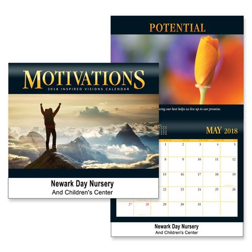 2018 Motivations Wall Calendar Wall Calendar, Planner, The Positive Line, Business Calendar, Office Calendar, Business Gifts, Corporate Gifts, Sales and Marketing, Sales Meetings, Giveaways, Promotional Calendars