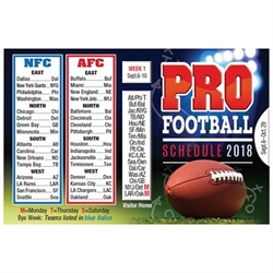 2018 Pro Football Schedule Wallet Size Schedule Promotional Football Items, Pocket Football Schedule, Football Giveaways, Fantasy Football Giveaways, Sports Betting Giveaways, Casino Giveaways